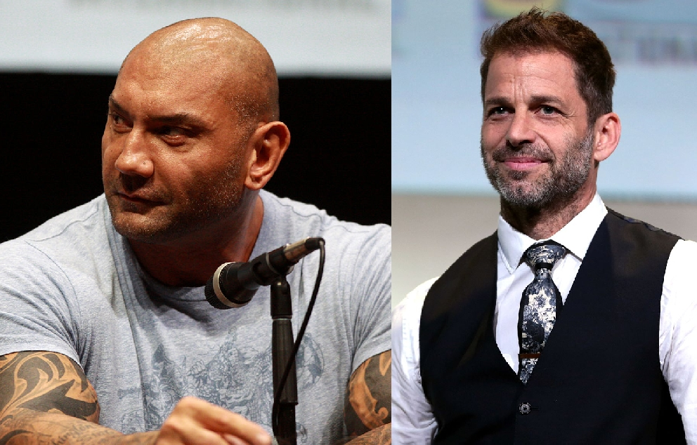 Dave Bautista and Zack Snyder